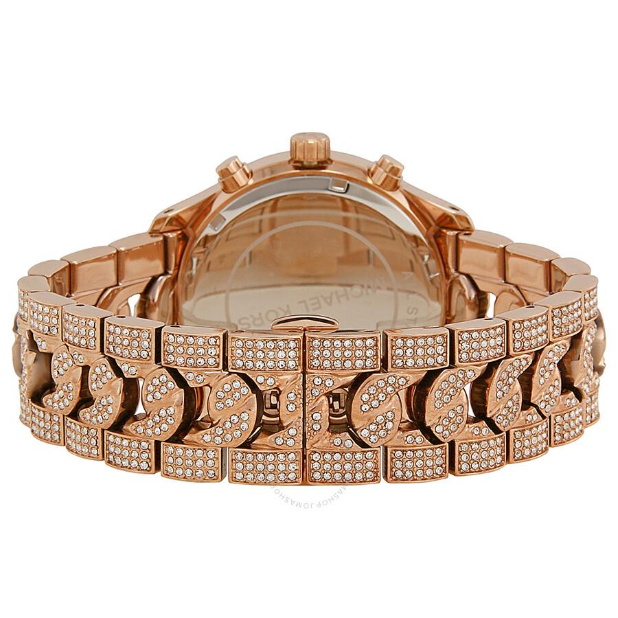 ae3ebc4b0096 ... Michael Kors Lindley Chronograph Rose Crystal Pave Dial Rose Gold-tone Ladies  Watch MK5900 ...
