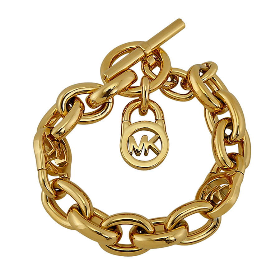 michael kors logo lock golden toggle bracelet mkj1046710 michael kors ladies jewelry. Black Bedroom Furniture Sets. Home Design Ideas