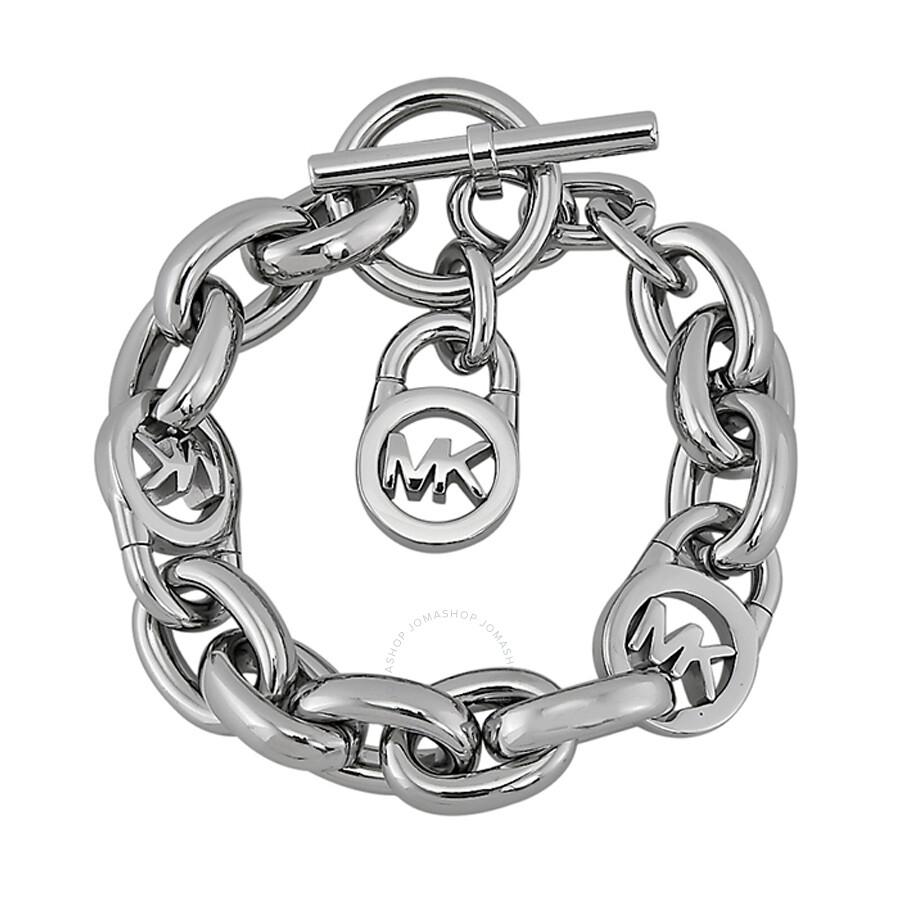 michael kors logo lock silver tone toggle bracelet