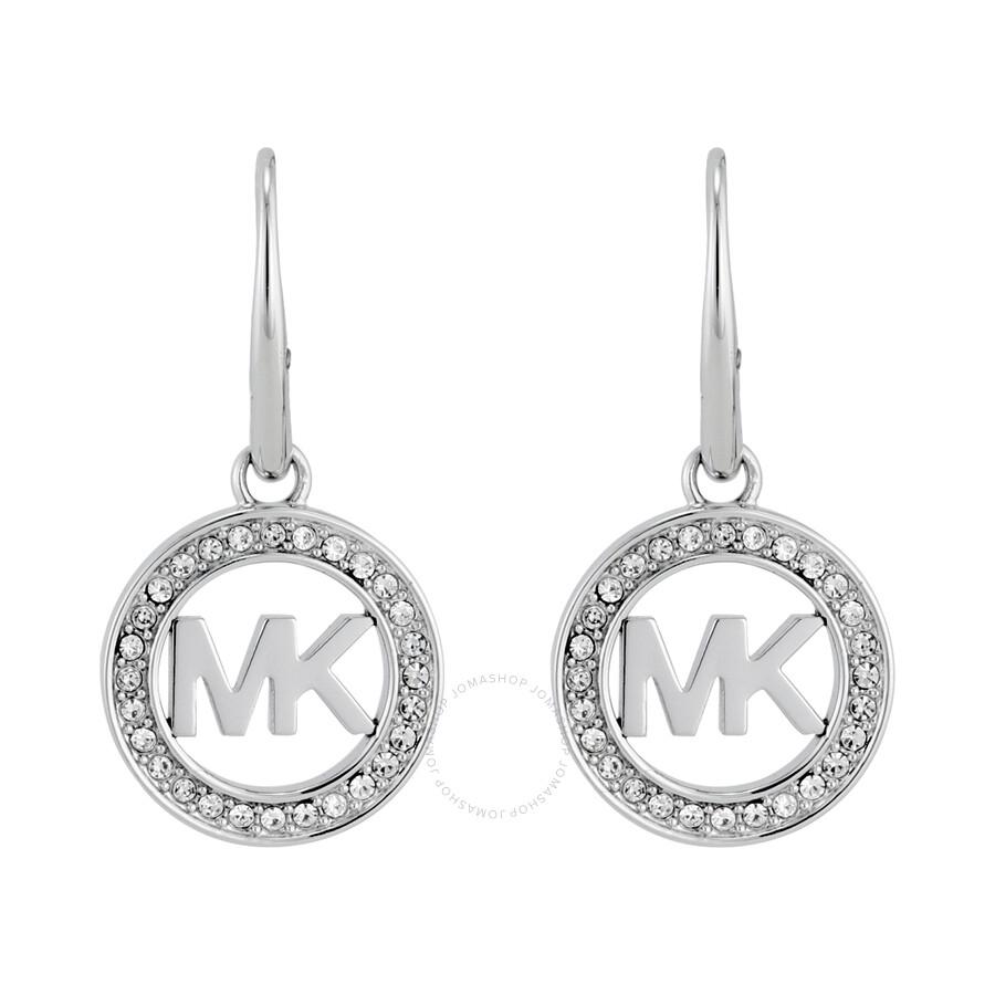 michael kors logo silver tone earrings mkj4795040