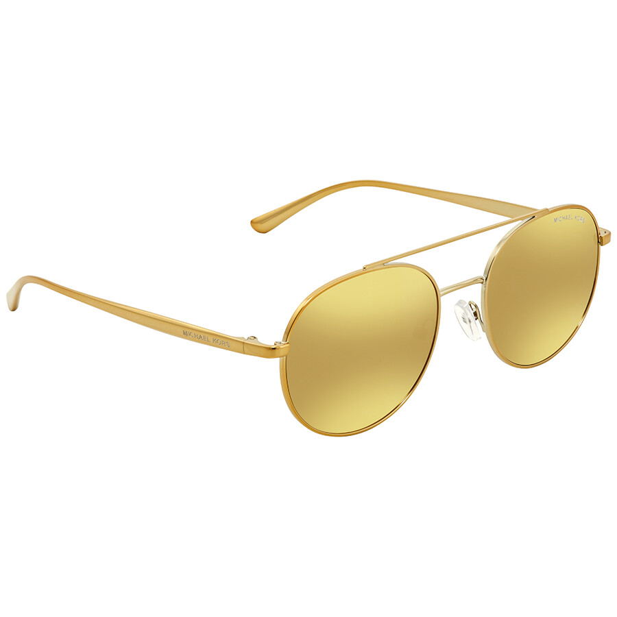 4d99e261ccd Michael Kors Lon Liquid Gold Aviator Ladies Sunglasses MK1021-11687P-53 ...