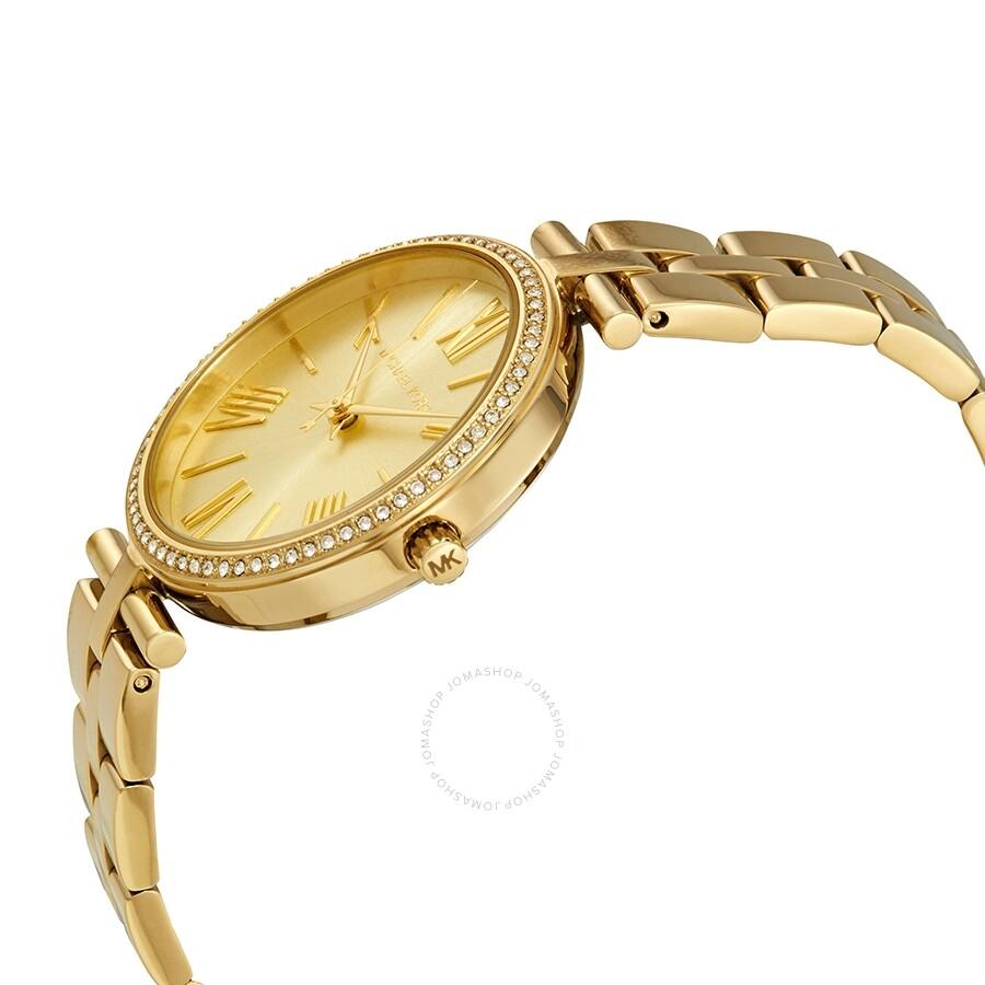 1ccb303a421f ... Michael Kors Maci Crystal Yellow Gold Dial Ladies Watch MK3903 ...
