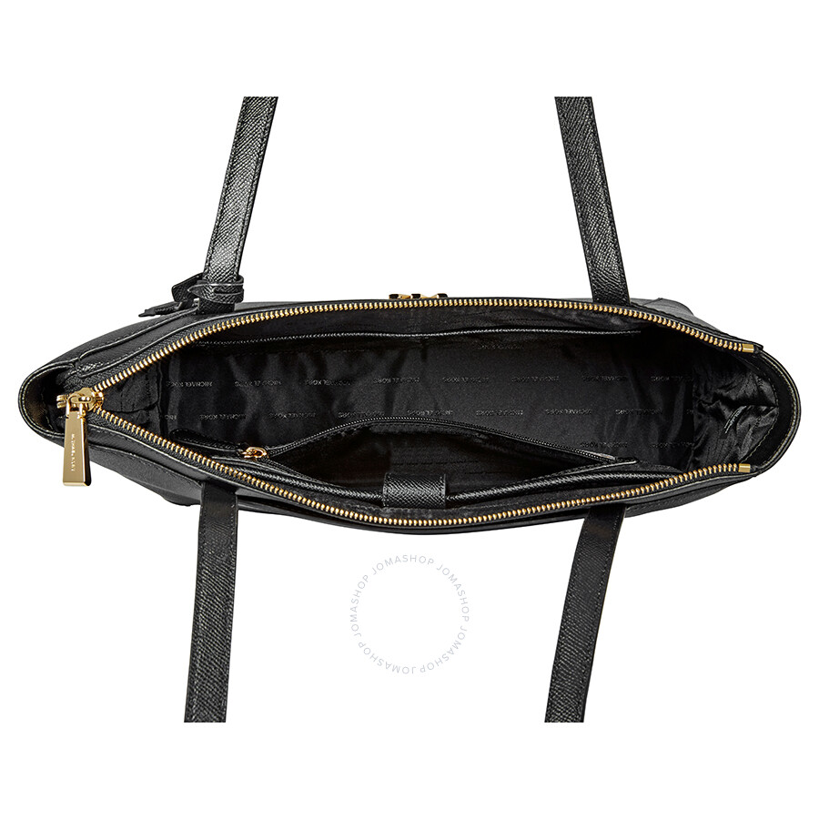 fd09b6b7df01 Michael Kors Maddie Medium East West Leather Tote- Black - Michael ...
