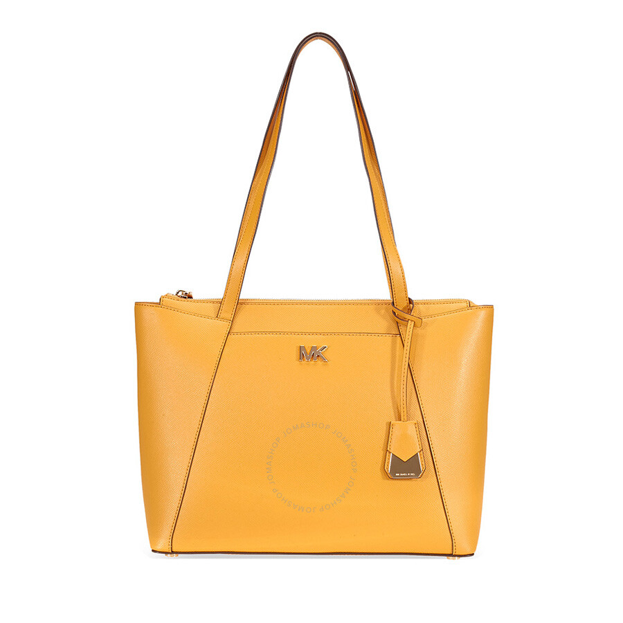 8f153dcc44be Michael Kors Maddie Medium East/West Leather Tote- Marigold Item No.  30S8GN2T2L-706