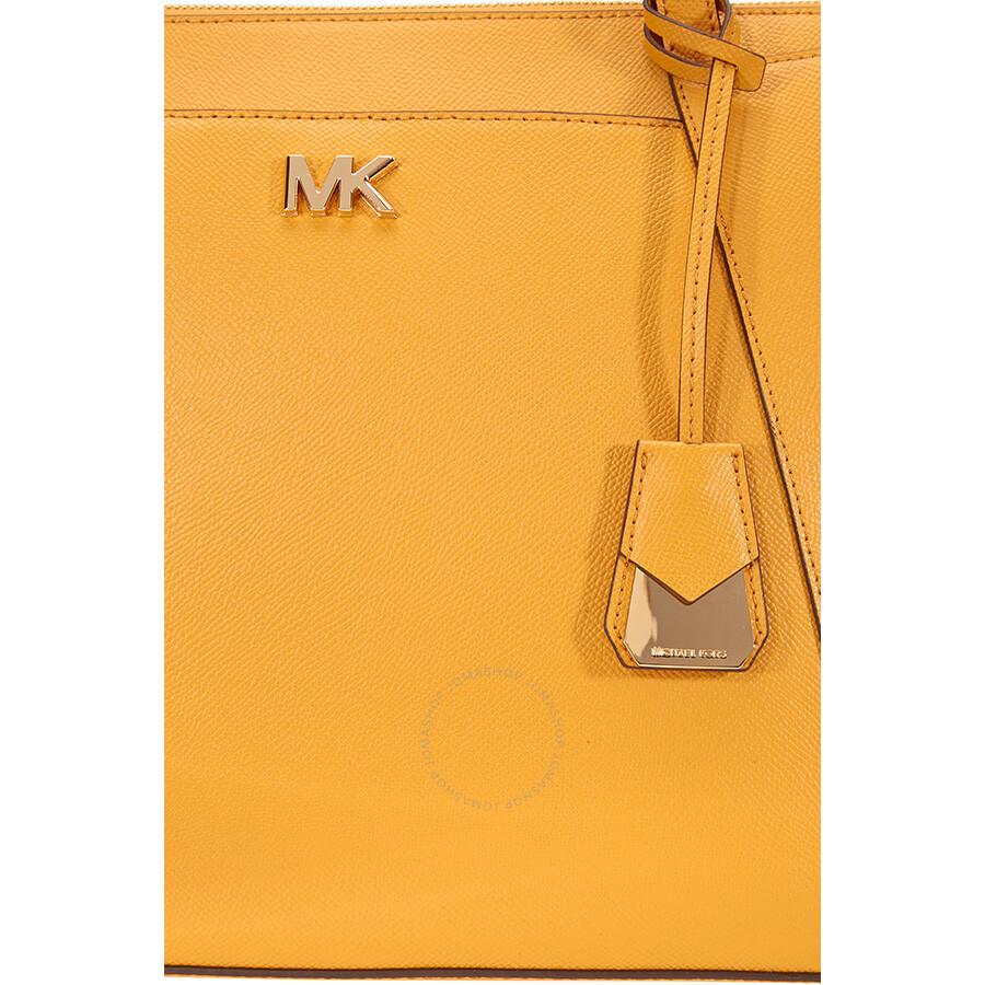 1492494afd00 Michael Kors Maddie Medium East West Leather Tote- Marigold