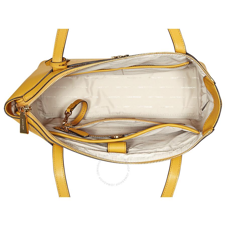 8ca4febfc565 Michael Kors Maddie Medium East/West Leather Tote- Marigold ...