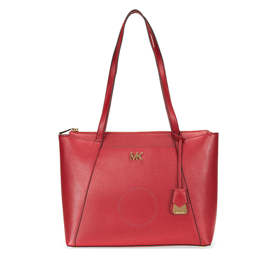 f9630e6b31e4 Michael Kors Maddie Medium East West Leather Tote- Maroon Item No.  30S8GN2T2L-550