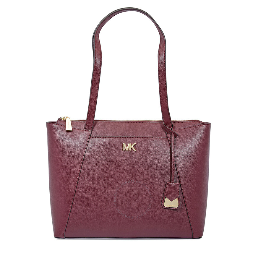 3eb9ec7c8694 Michael Kors Maddie Medium East/West Leather Tote- Oxblood - Michael ...