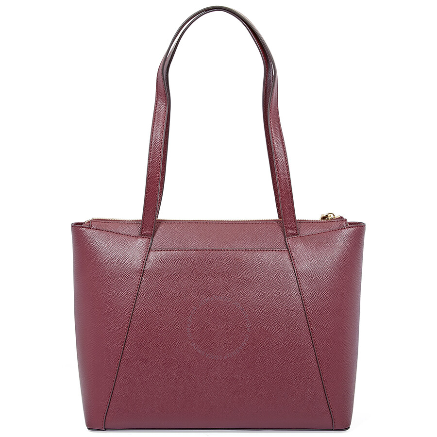 ce451f0a0589 Michael Kors Maddie Medium East/West Leather Tote- Oxblood - Michael ...