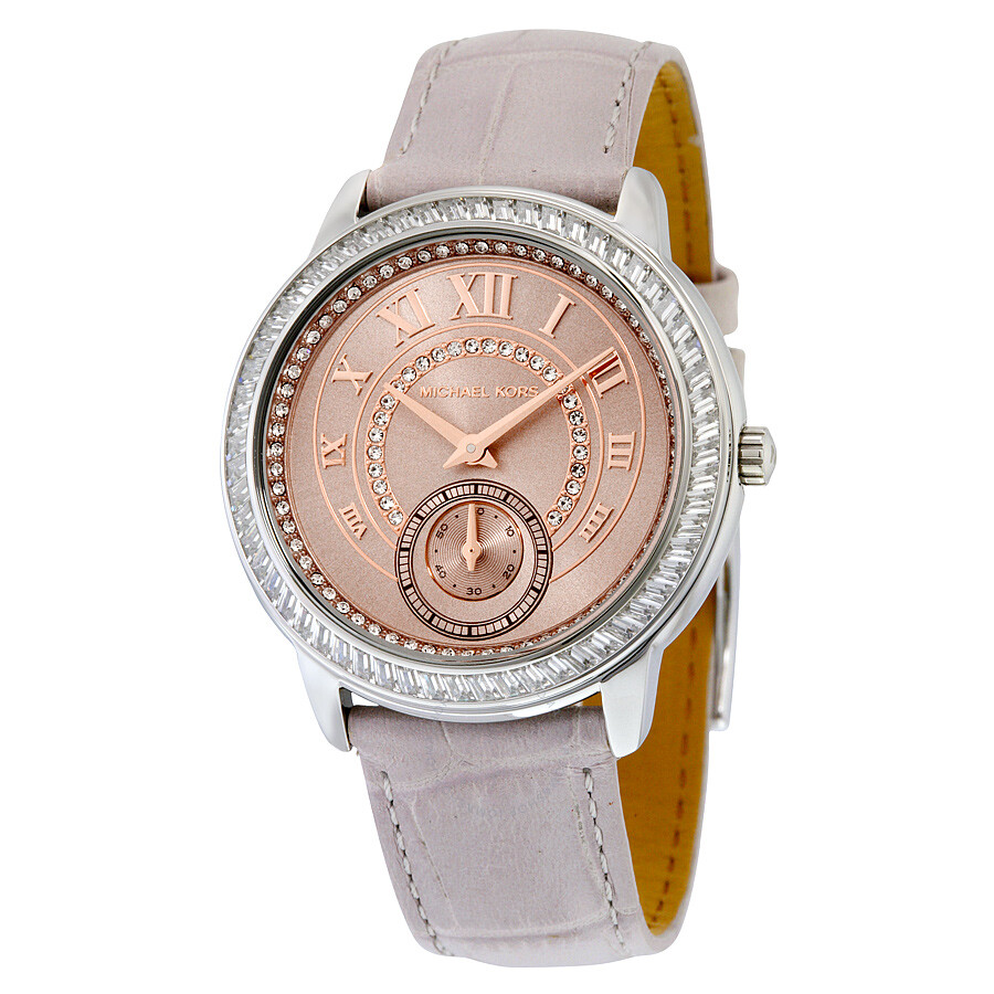 Michael Kors Madelyn Rose Dial Grey Leather Ladies Watch ...