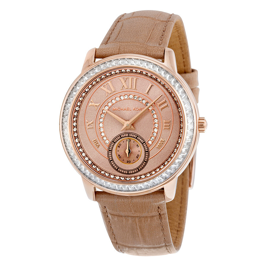 Michael Kors Madelyn Rose Gold PVD Beige Leather Ladies ...