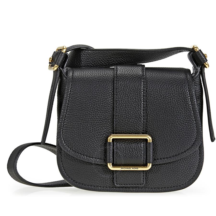 ac1fbe1e514 Michael Kors Maxine Pebbled Saddlebag - Black Item No. 30H6TUZM2L-001