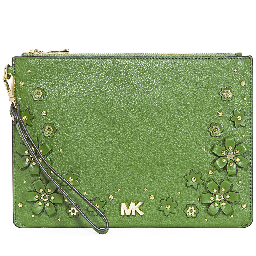 Michael Kors Medium Fl Embellished Leather Pouch True Green