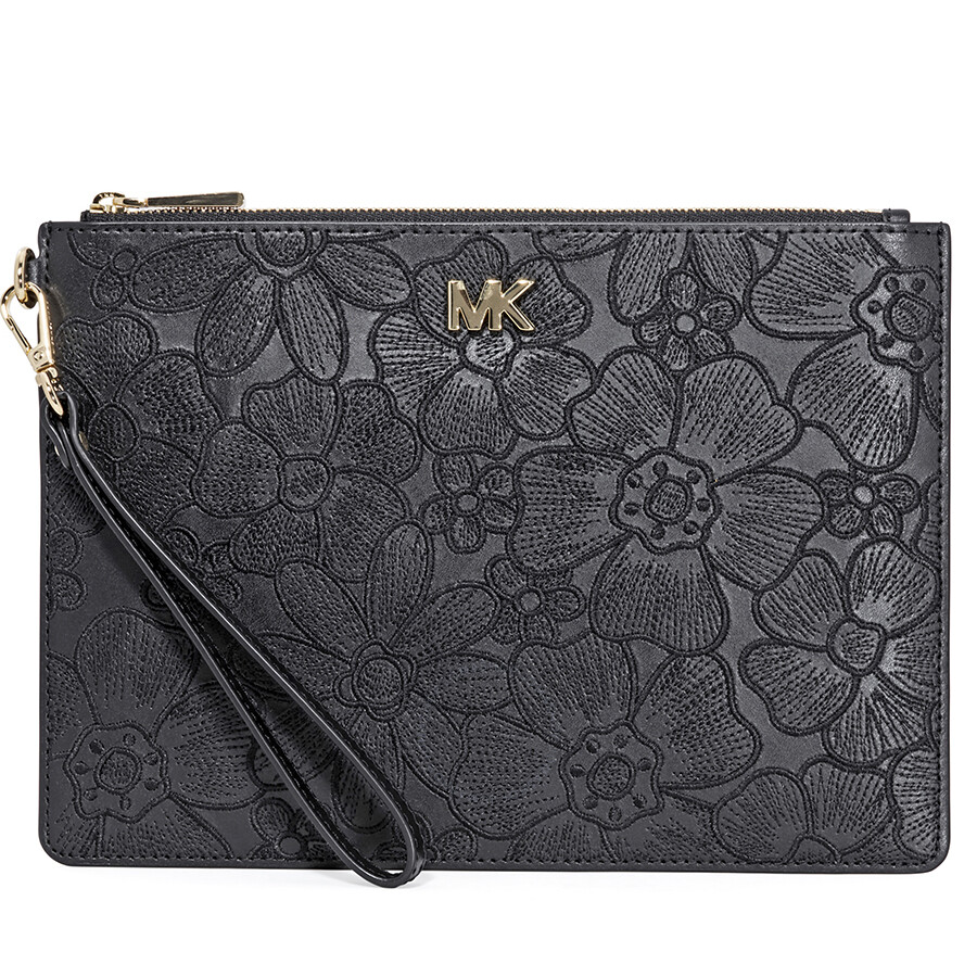 b30de2eb3a0b3 Michael Kors Medium Floral Leather Pouch- Black Item No. 32T8GF9P8I-001