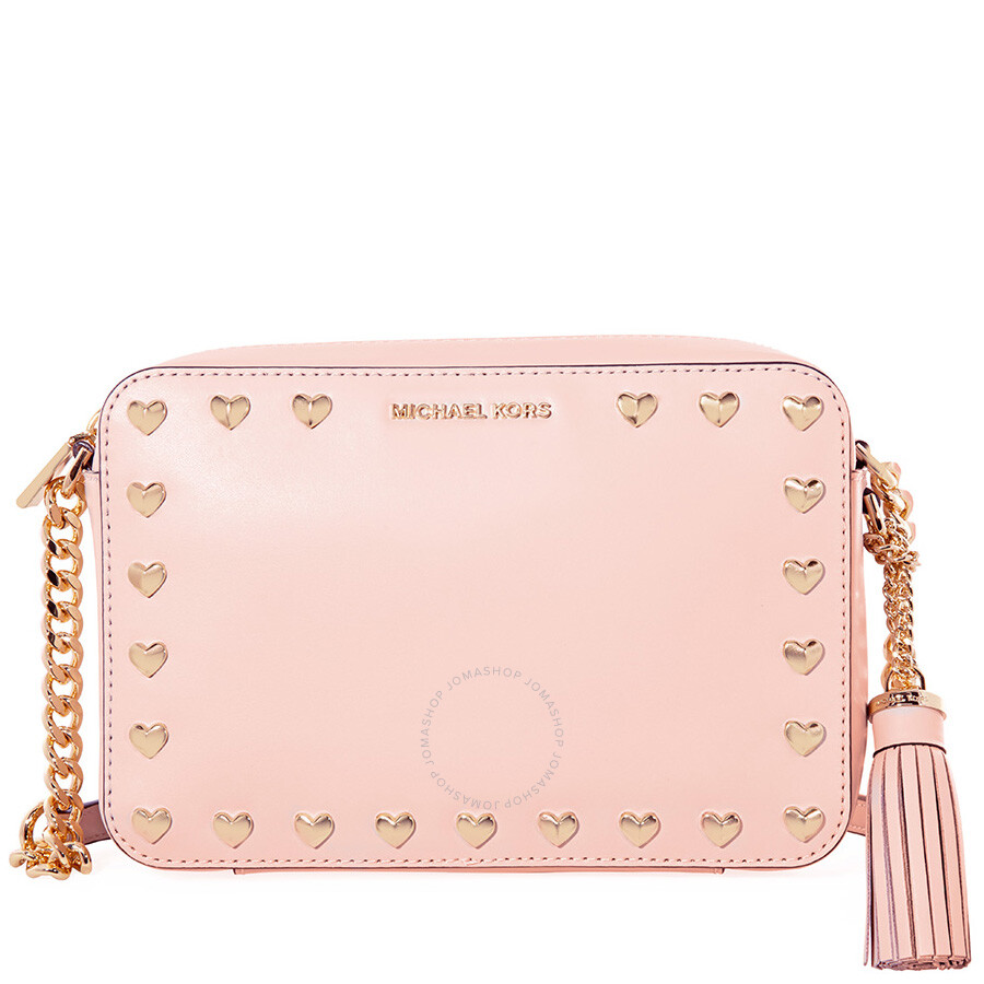 f7a4a8b47f8cf5 Michael Kors Medium Ginny Heart Studded Camera Bag - Soft Pink Item No.  32H7GGNM2U-187