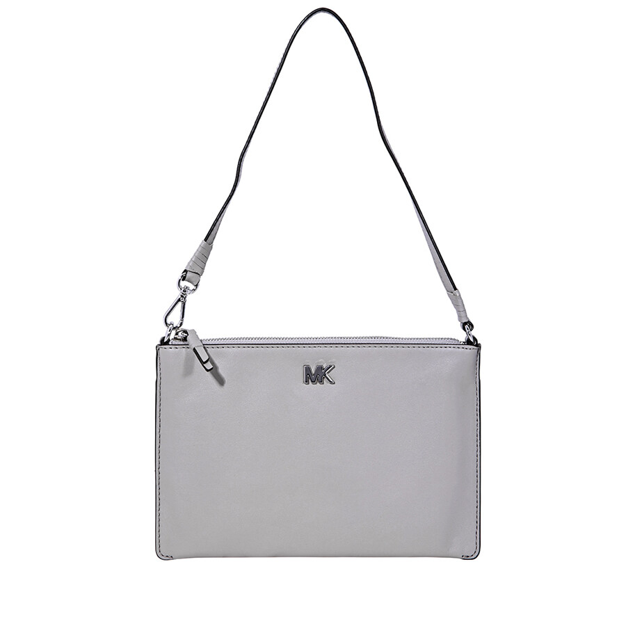 21b7b5031c57 Michael Kors Medium Convertible Leather Pouch- Pearl Grey Item No.  32F8SF9U2L-081