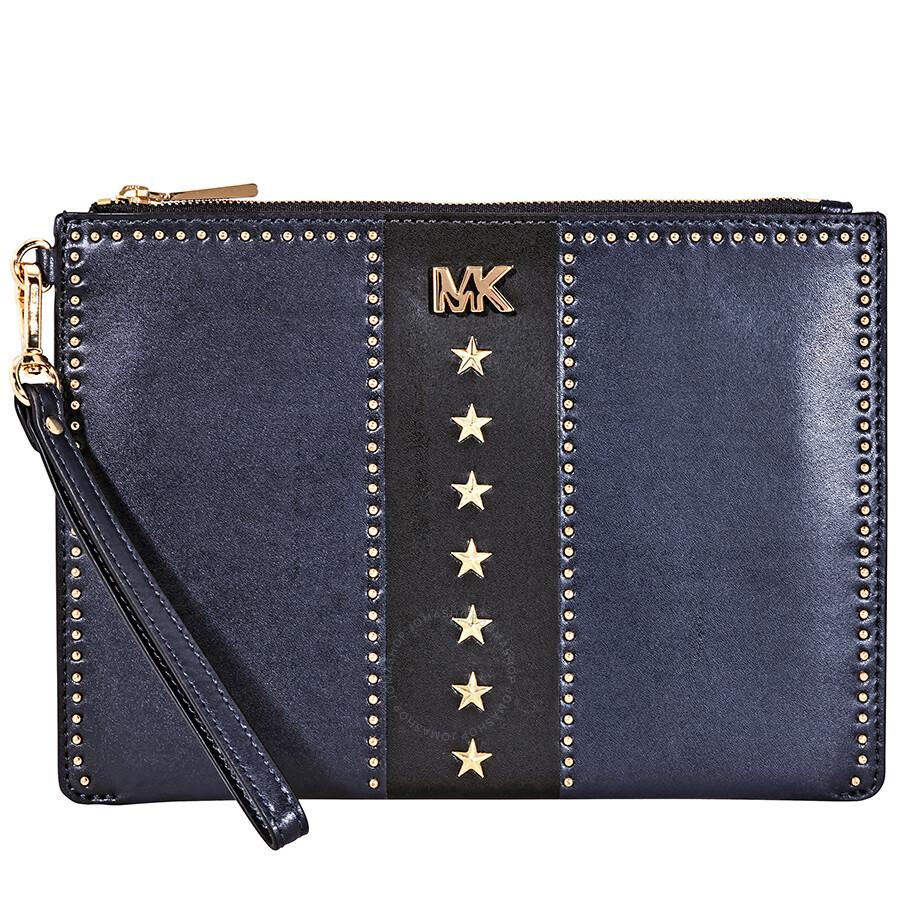 06083a51cad36 Michael Kors Medium Leather Zip Pouch- Navy  Black Item No. 32F8GF9P6Y-429