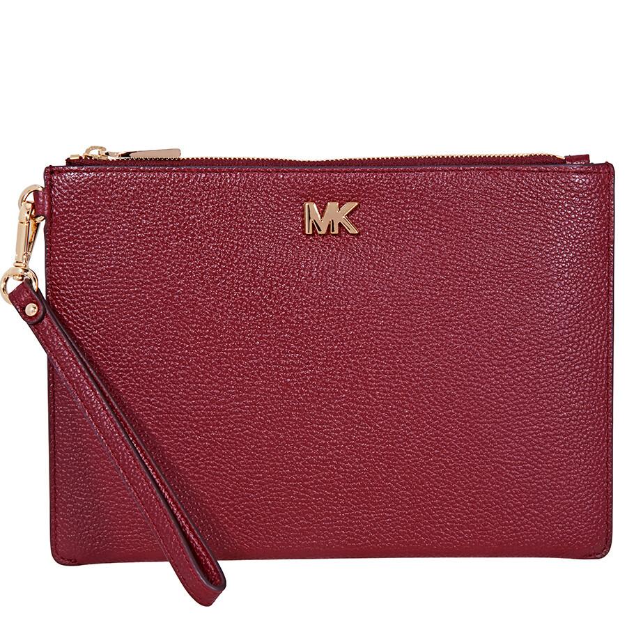 5f185f807eb3 Michael Kors Medium Leather Pouch- Oxblood - Michael Kors Handbags ...
