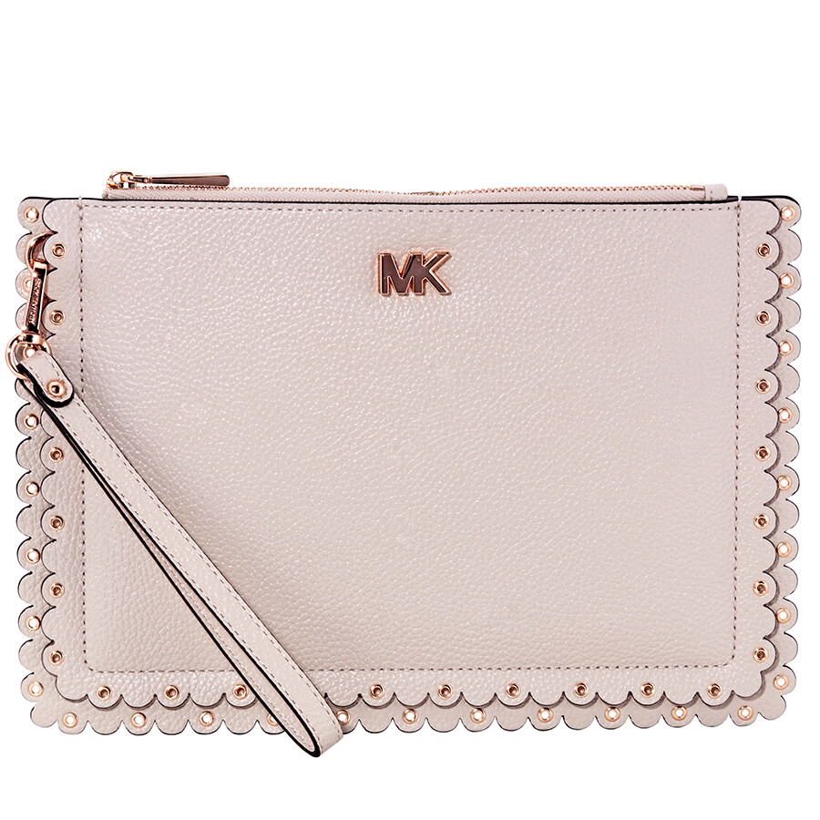 3c9af3c6bbb3 Michael Kors Medium Scalloped Leather Pouch- Soft Pink Item No.  32T8TF9P5T-187