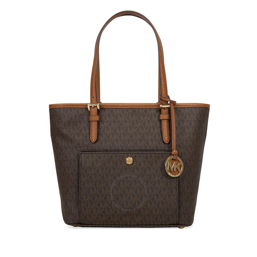 michael kors medium top zip logo tote brown jet set michael kors handbags handbags. Black Bedroom Furniture Sets. Home Design Ideas