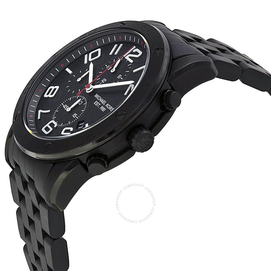9661a41d06884b ... Michael Kors Mercer Chronograph Black Dial Black Ion-plated Men's Watch  MK8350 ...