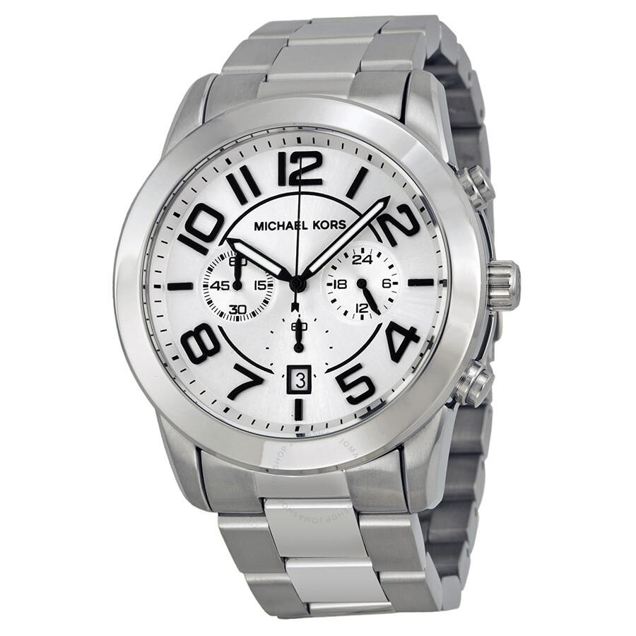 1cee84128798 Michael Kors Mercer Chronograph Silver Dial Stainless Steel Men s Watch  MK8290 ...