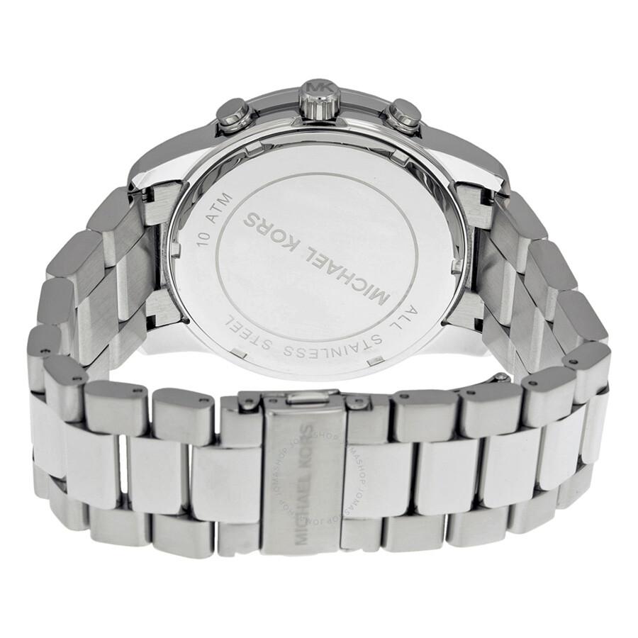 1590a7b2cd26 ... Michael Kors Mercer Chronograph Silver Dial Stainless Steel Men s Watch  MK8290 ...