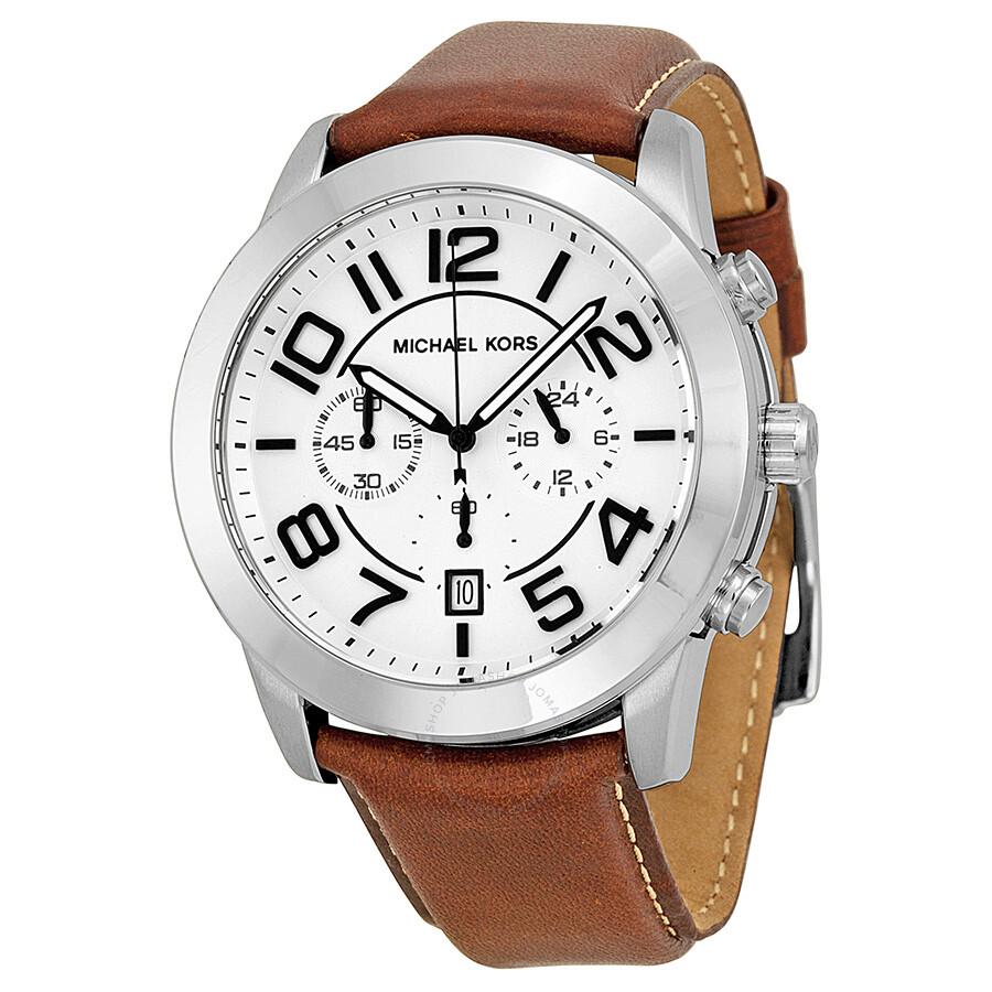 michael kors mercer chronograph white leather