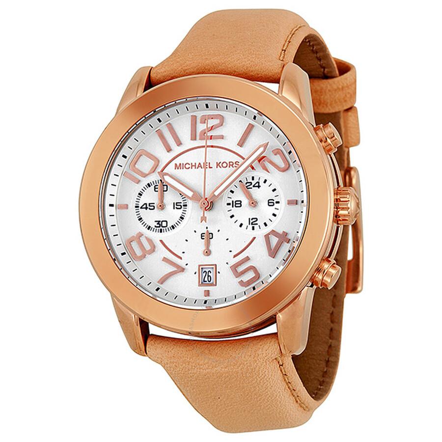 Michael Kors Mercer Chronograph White Dial Rose Gold Tone Steel Ladies Watch MK2283