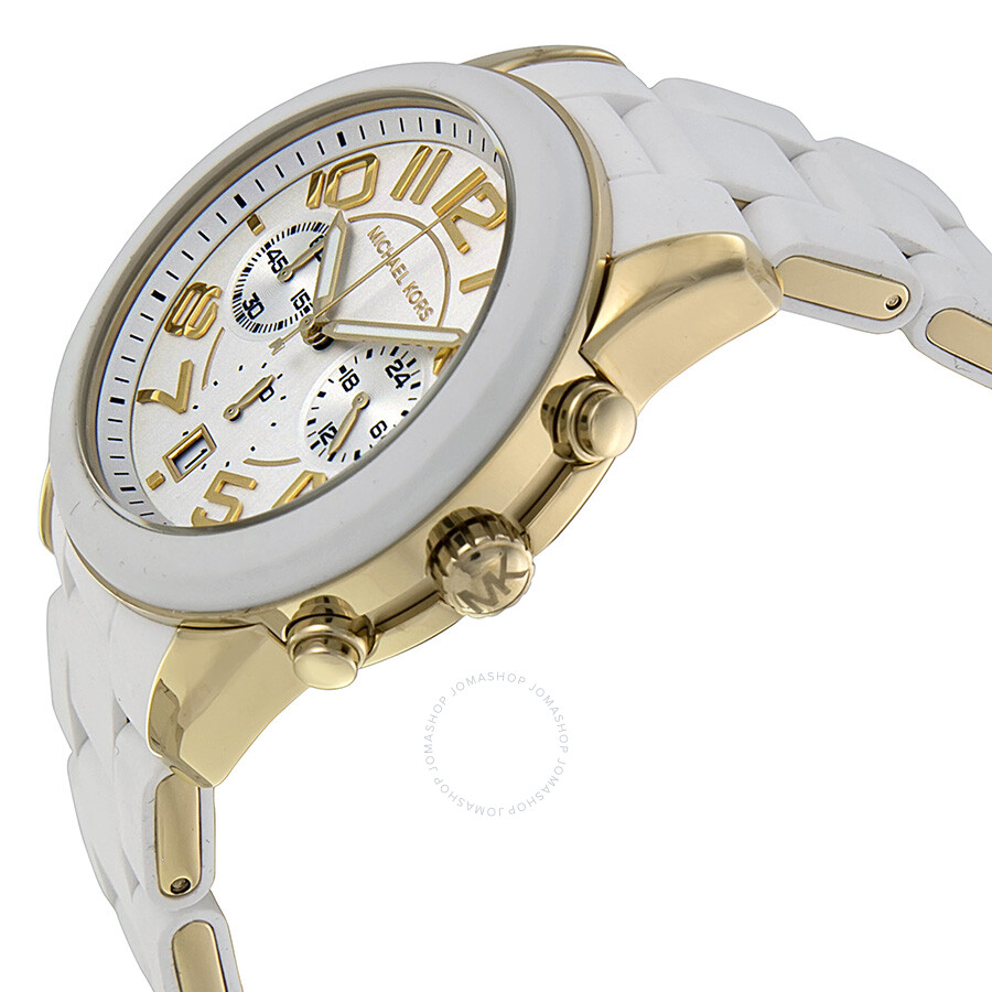 3a0ac08768cb ... Michael Kors Mercer Chronograph White Dial White Silicone Wrapped Steel  Ladies Watch MK5889 ...