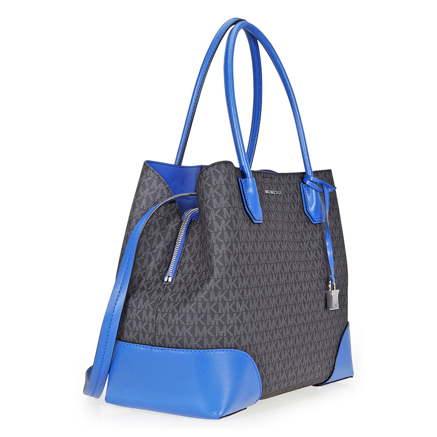 Michael Kors Mercer Corner Signature PVC Tote- Black Blue - Mercer ... 309275204b263