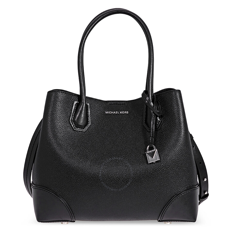 a76243b53162 Michael Kors Mercer Gallery Medium Leather Satchel- Black Item No.  30H7SZ5T6A-001
