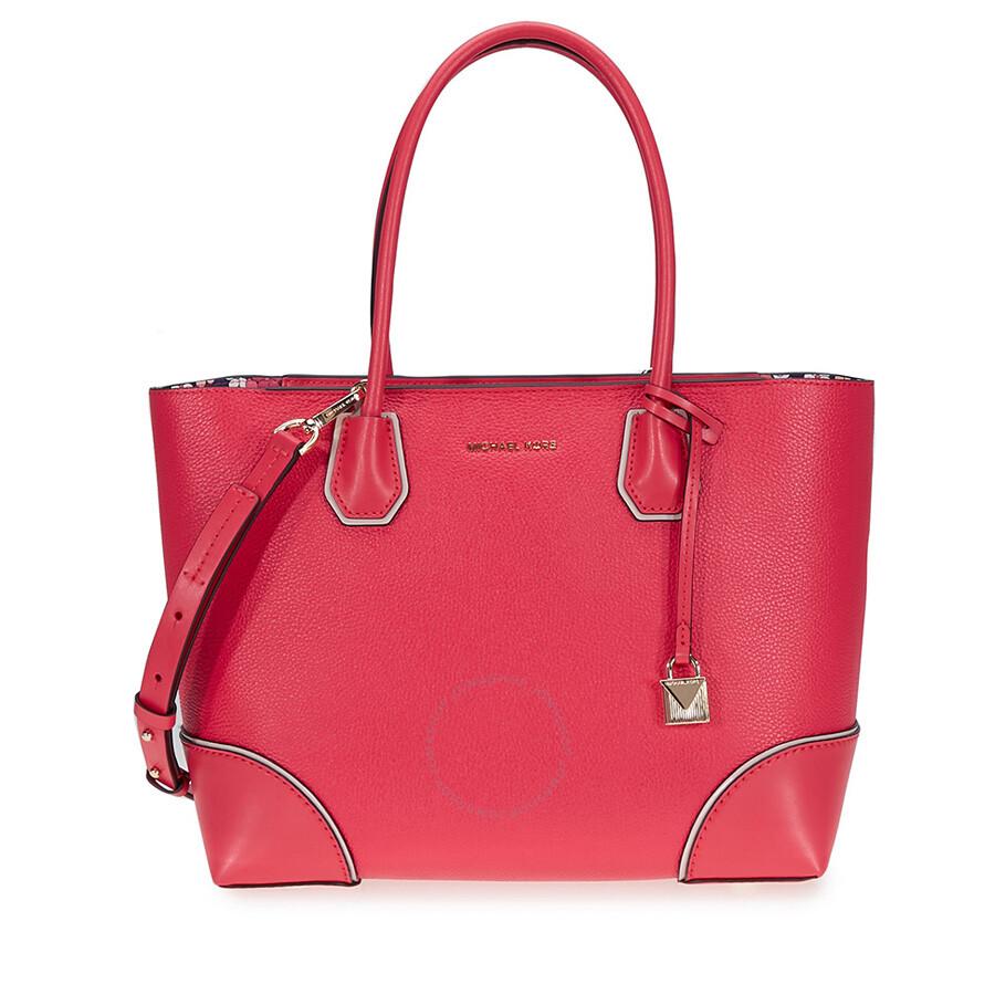 c9ea1c46b084 Michael Kors Mercer Gallery Medium Leather Tote- Deep Pink Item No.  30T8GZ5T6I-672