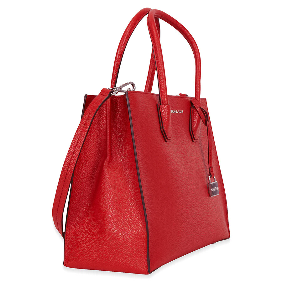 308ab79d0fa3 Michael Kors Mercer Large Bonded Leather Tote - Bright Red - Michael ...