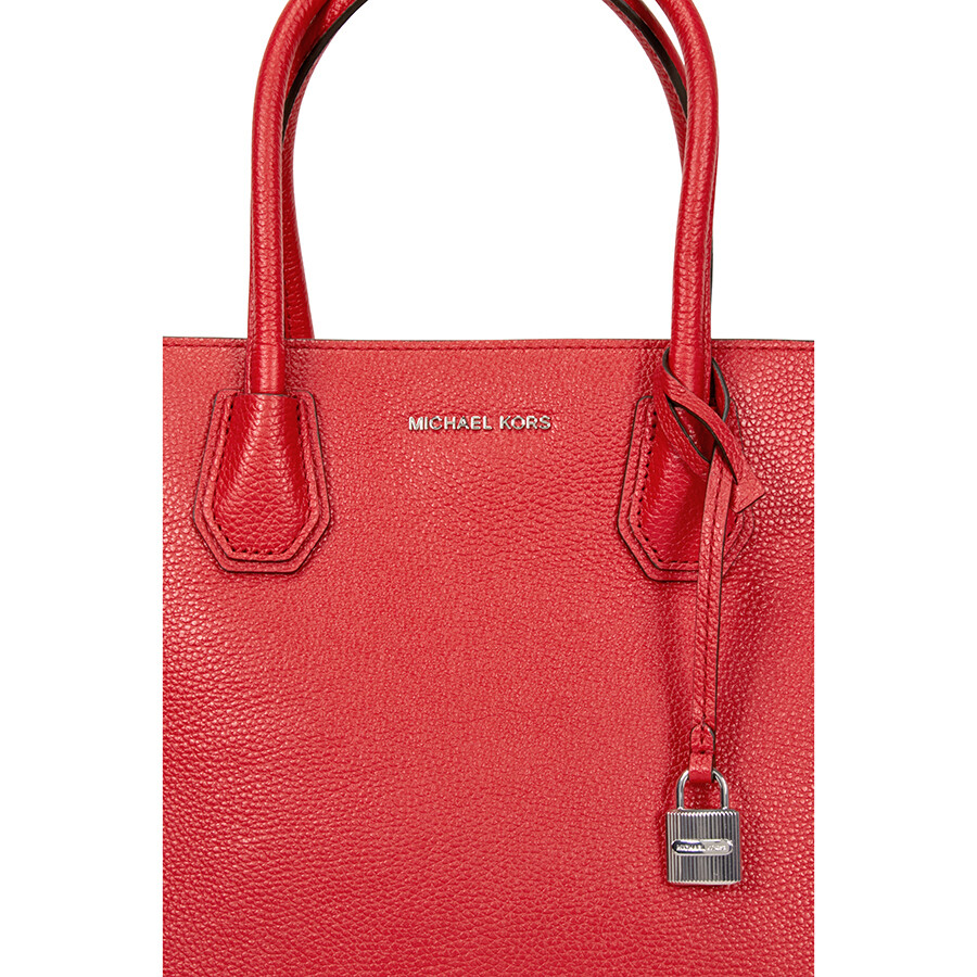 Michael Kors Mercer Large Bonded Leather Tote Bright Red
