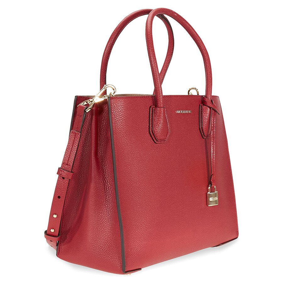 michael kors mercer large bonded leather tote burnt red. Black Bedroom Furniture Sets. Home Design Ideas