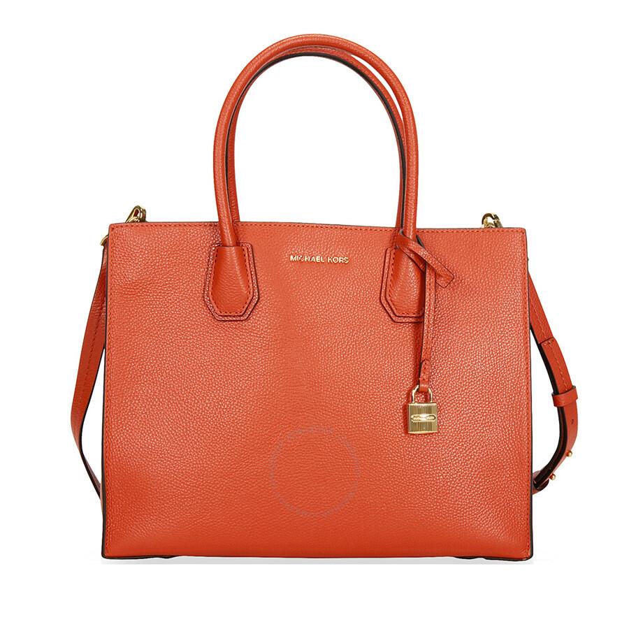 b1de392f8225 Michael Kors Mercer Large Bonded Leather Tote - Orange - Michael ...