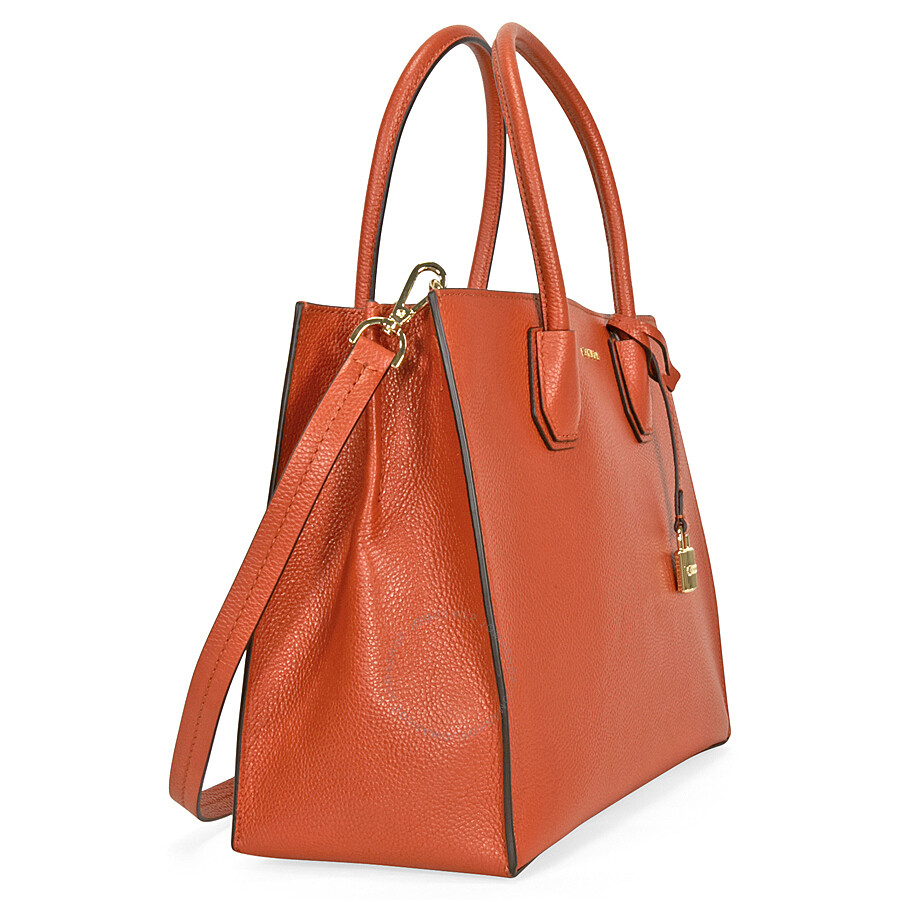 michael kors mercer large bonded leather tote orange. Black Bedroom Furniture Sets. Home Design Ideas