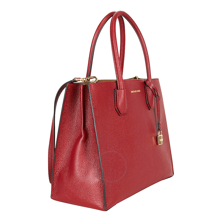 6692cf8826a1 Michael Kors Mercer Large Bonded Leather Tote - Pebble Cherry ...