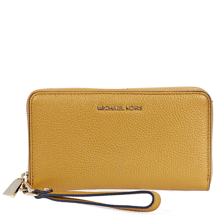 3ee6ac122f70 Michael Kors Mercer Large Leather Smartphone Wristlet- Marigold Item No.  32F6GM9E3L-706