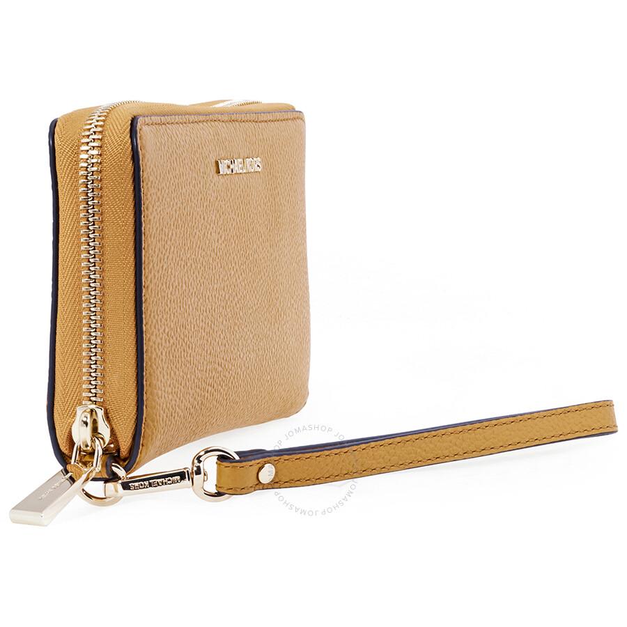 9544dc541b15 Michael Kors Mercer Large Leather Smartphone Wristlet- Marigold ...