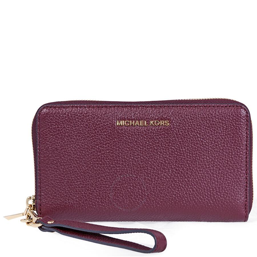 af394ffa0372e Michael Kors Mercer Large Leather Smartphone Wristlet- Oxblood Item No.  32F6GM9E3L-610