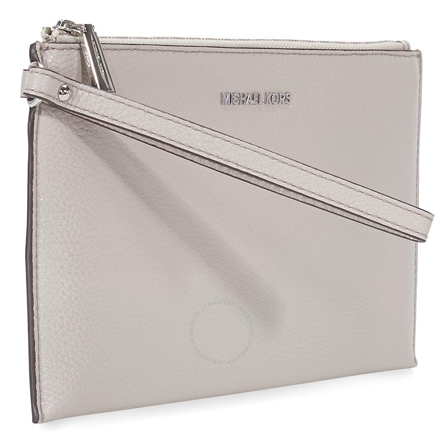ffcad1b1b73d Michael Kors Mercer Large Leather Wristlet- Cement - Mercer ...