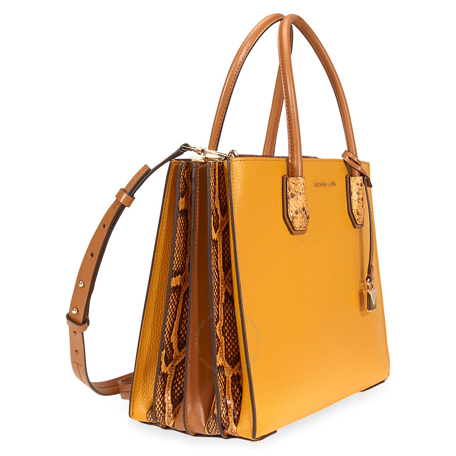 5a571ed8f17bd3 Michael Kors Mercer Large Pebbled Leather Accordion Tote- Marigold ...