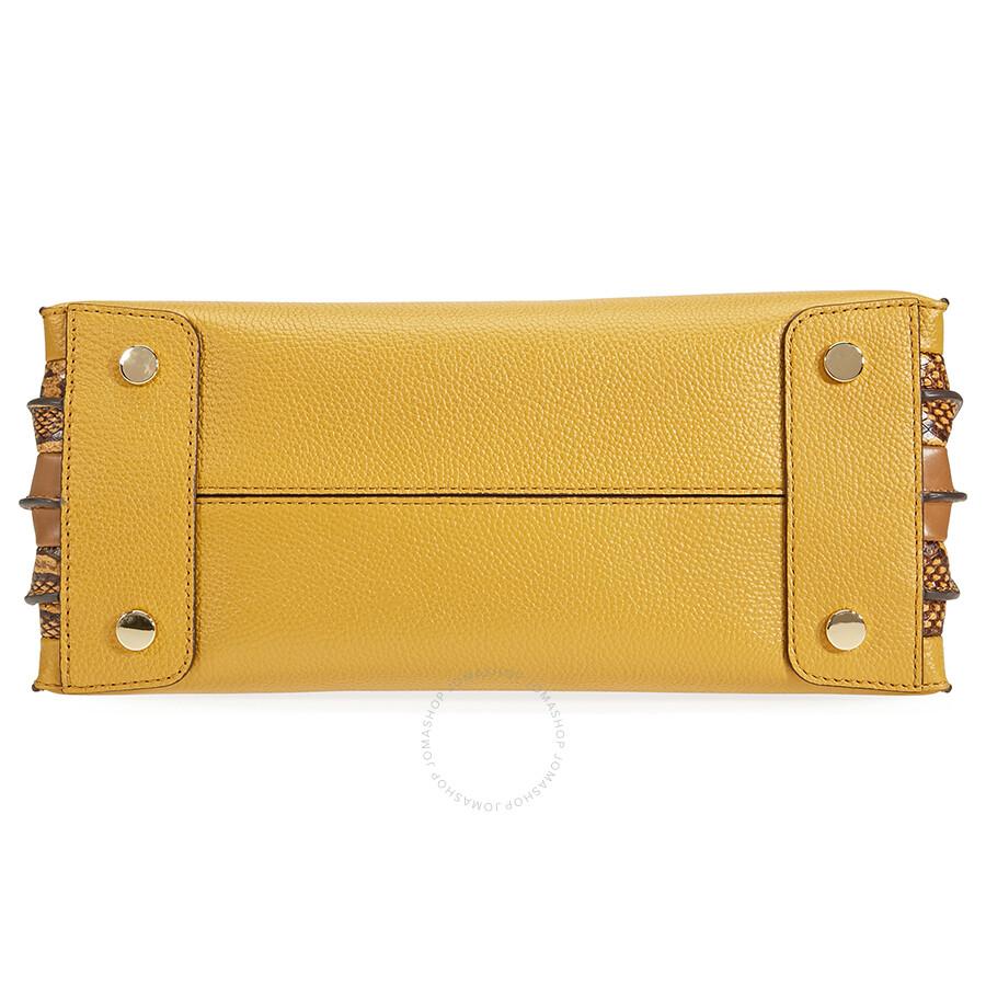 a29fc8f5574b25 Michael Kors Mercer Large Pebbled Leather Accordion Tote- Marigold ...
