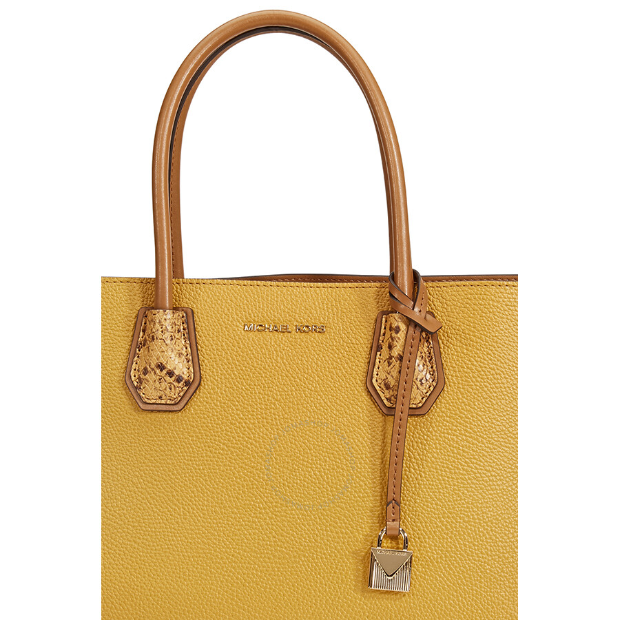 d23327fa8b60 Michael Kors Mercer Large Pebbled Leather Accordion Tote- Marigold ...
