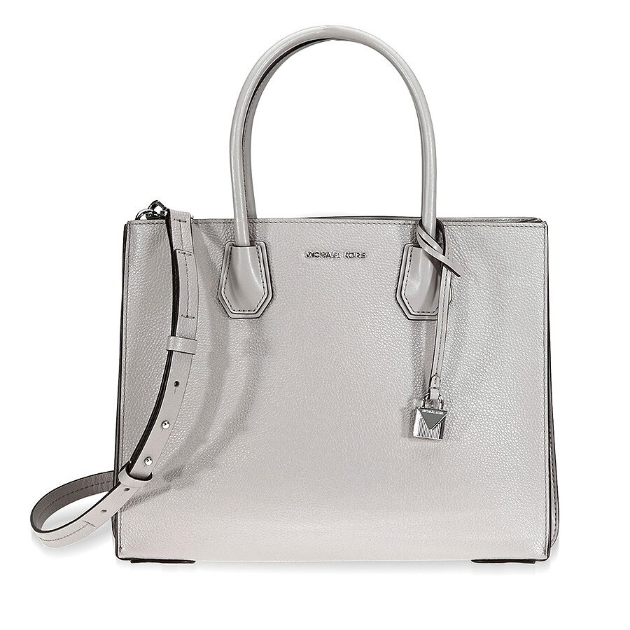1503186aee10 Michael Kors Mercer Large Pebbled Leather Tote - Pearl Grey Item No.  30F8SM9T3T-081