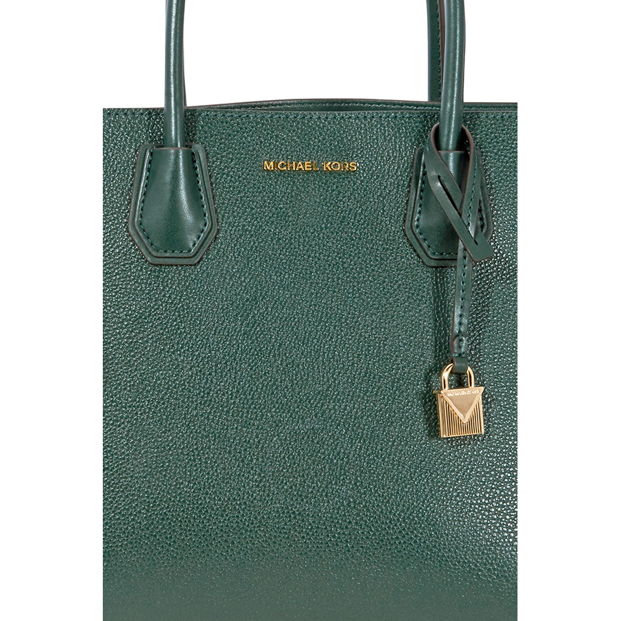 Michael Kors Mercer Large Pebbled Leather Tote Racing Green
