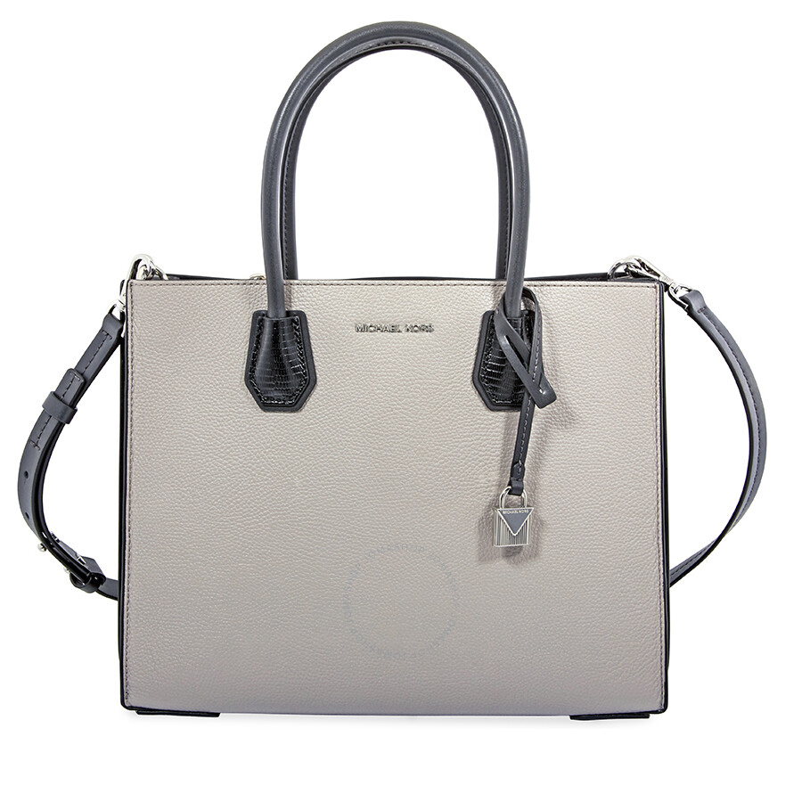 f13c4d7c236f91 Michael Kors Mercer Large Pebbled Leather Tote- Gray/Black Item No.  30F8SM9T7I-327