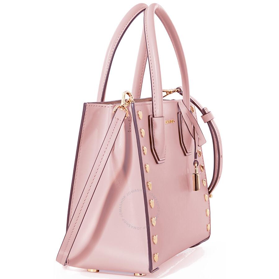 ac6cb3d0e9c8 Michael Kors Mercer Medium Heart Studded Messenger Bag - Soft Pink ...